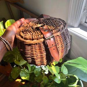 Vintage Summer Afternoon Creel Wicker Basket Purse